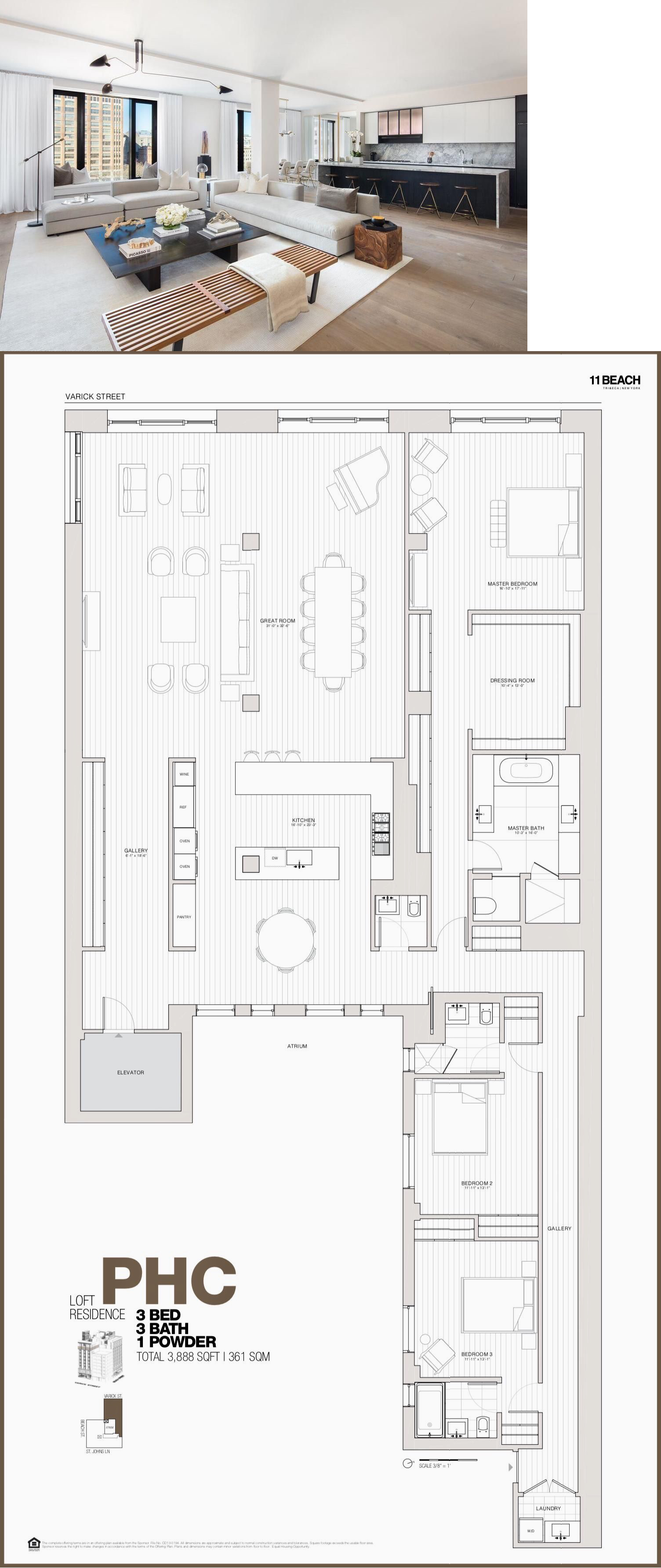 11 Beach Tribeca Penthouse C Penthouse Apartment Floor Plan City Living Apartment Apartment Floor Plan