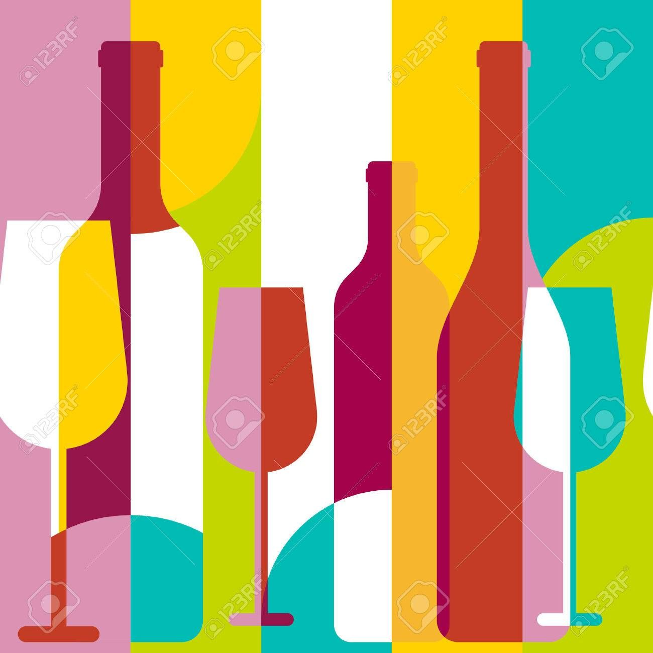 Vector Seamless Background Wine Bottle And Glass Silhouette Abstract Flat Color Blocking Geometric Illustration Poster Design Wine Bottle Seamless Background