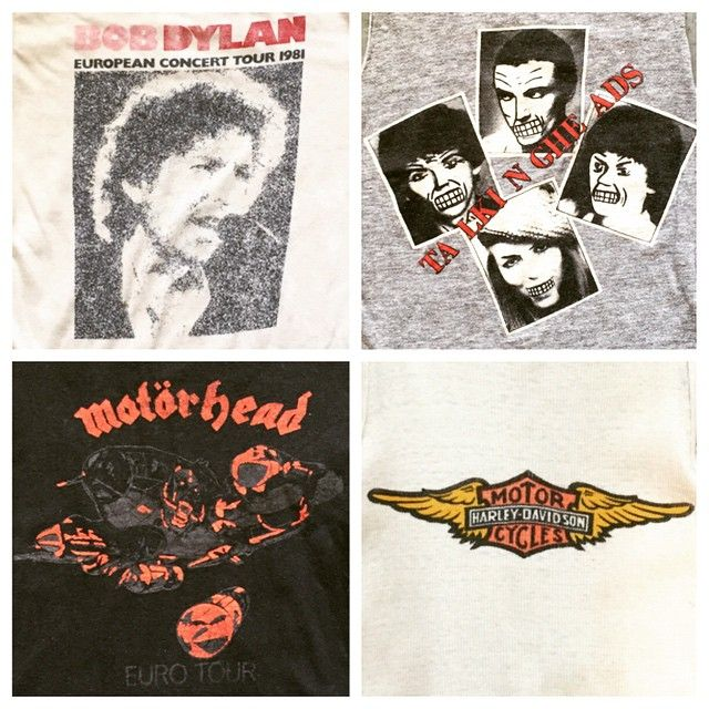 Bob Dylan, Talking Heads, Motorhead and Harley Davidson T-shirts headed to our SF shop