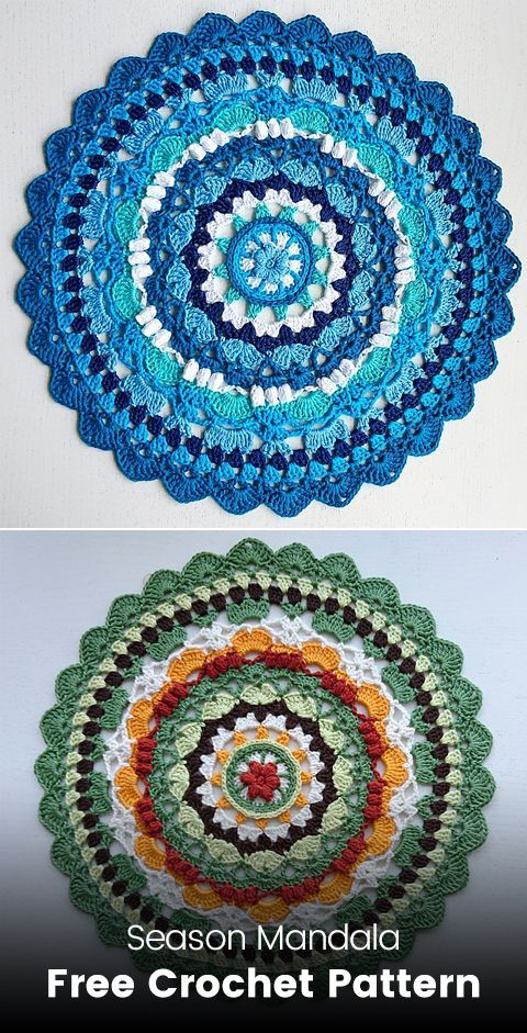 Season Mandala Free Crochet Pattern #crochet #crafts #homemade #handmade #crochetmandalapattern