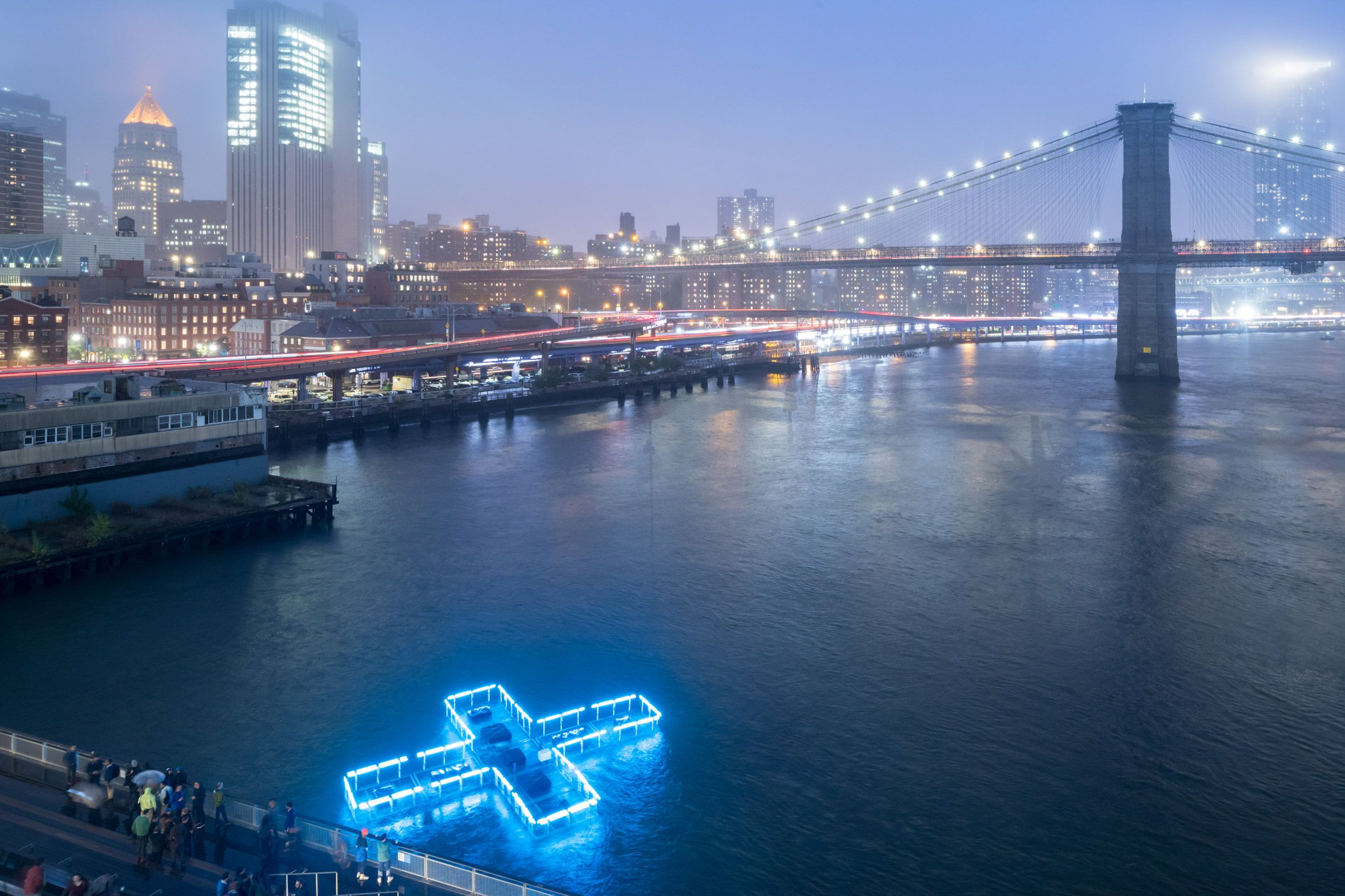 Floating Pool Light Installation Illuminates The East River To Test And Report On Water Quality Floating Pool Lights Light Installation Pool Light