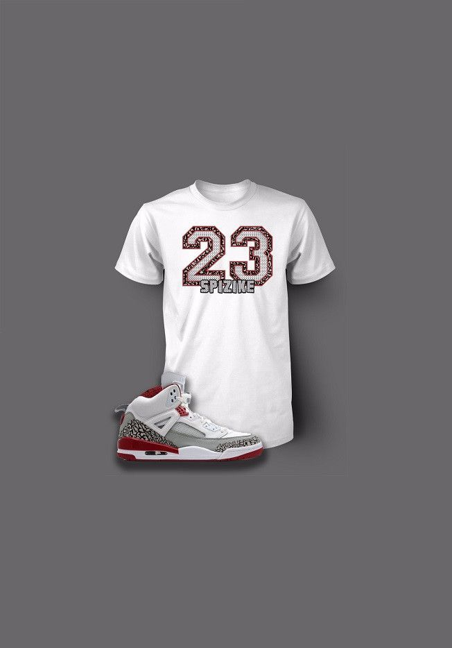 2b2456709e7400 Custom 23 Pro Club Graphic T Shirt To Match Retro Air Jordan Spizike White  Cement Shoe