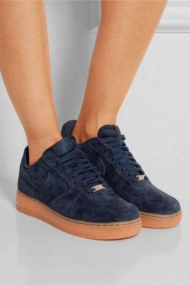 7285f9164aa Rubber sole measures approximately 30mm  1 inch Navy suede Lace-up front Nike  Air