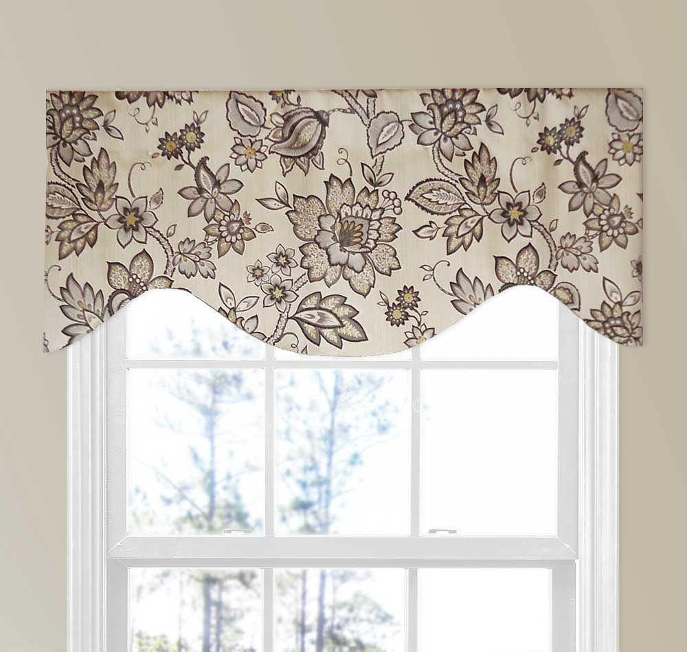 Large Jacobean Flower Valance Curtain In Brown Gold And Taupe Grey Walls Curtains For Grey Walls Valance