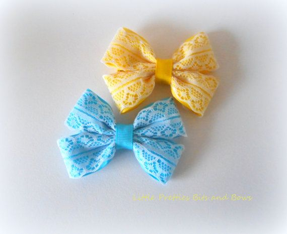 Lace Hair Bows on Clips by LittlePrettiesBows on Etsy
