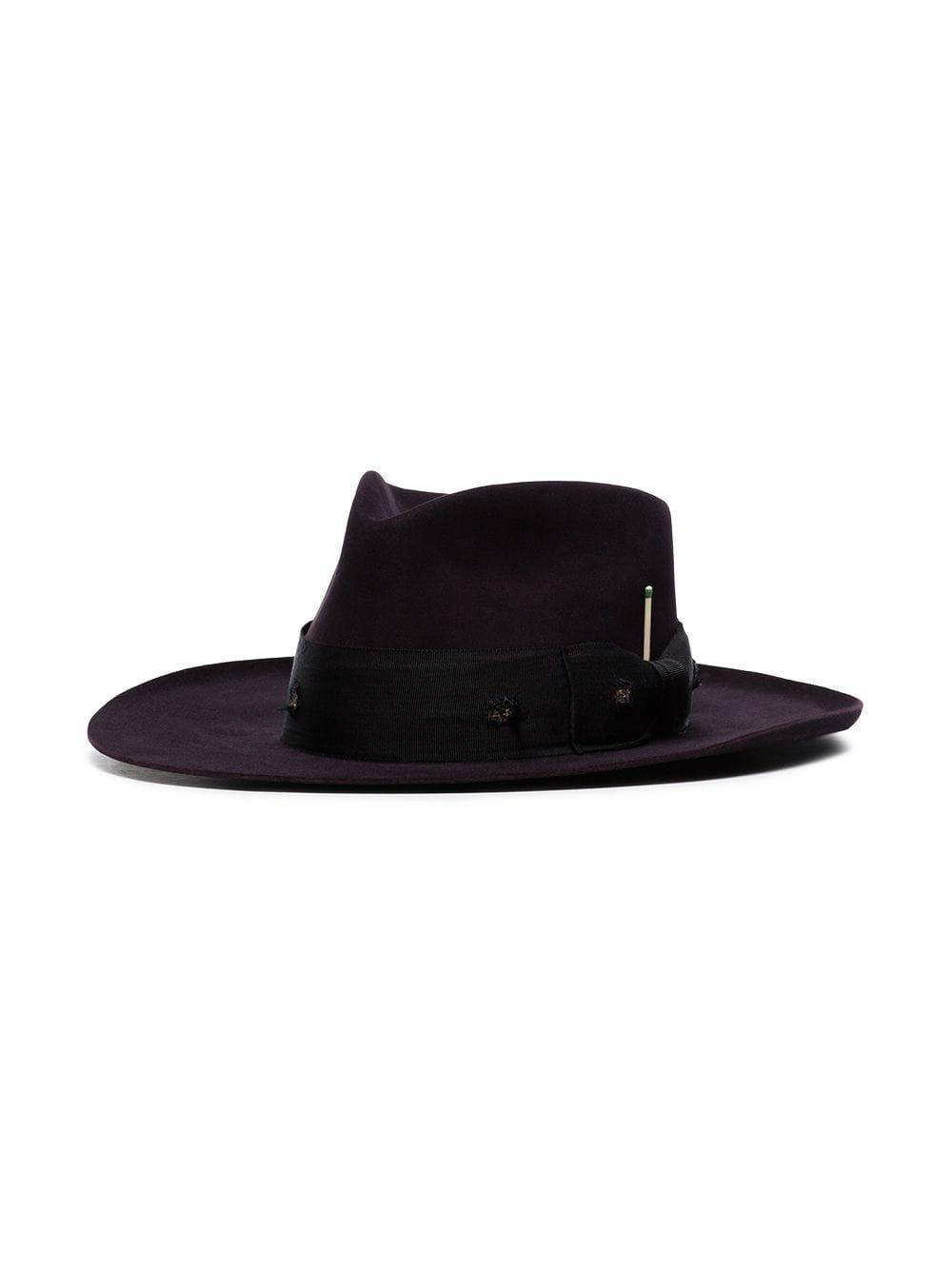 4660a65fc8ba4 Nick Fouquet Midnight Purple Buena Vista Ribbon Embellished Fur Hat ...