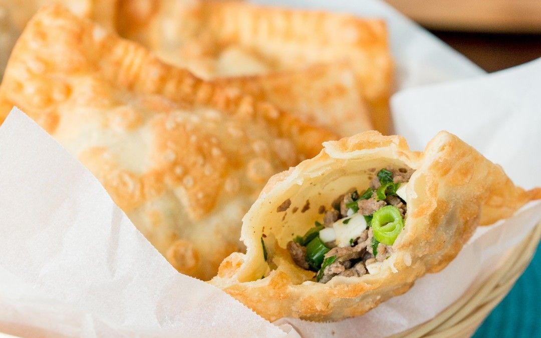 Crunchy deep fried pastry filled with beef mince, eggs ...