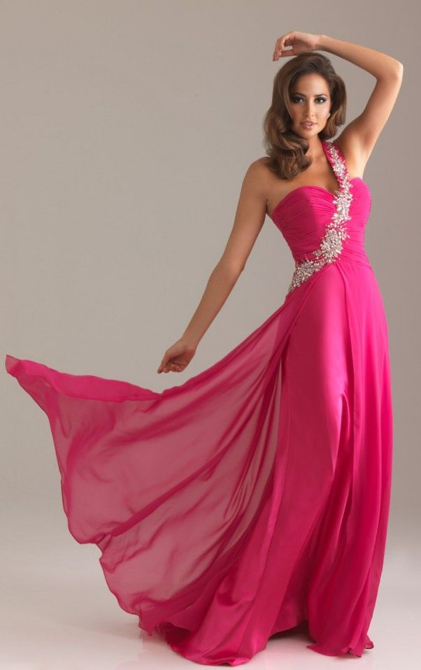 Sheath Floor-length One Shoulder Fuchsia Dress