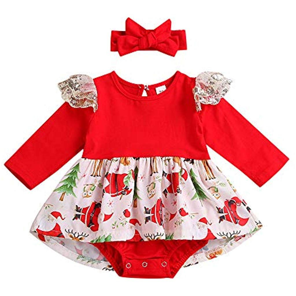 Bambino Vestiti ABCone Ragazzo delle Neonate Regalo Abito Natale Fantasia  Festa Gonna Cerchio per Capelli Principessa 4c657b98a0e5