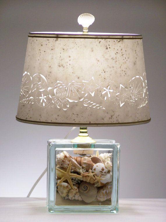 seashell glass block lamp seashell lamp shells beach table