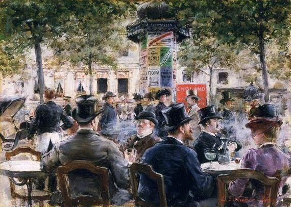 Louis Anet Sabatier, Cafe Scene in Paris (1884)