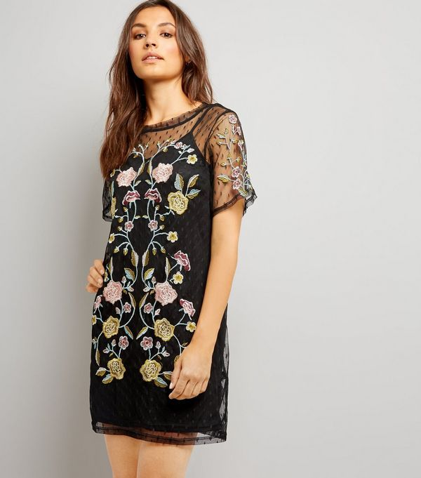 Floral Embroidered Tunic Dress - Black pattern New Look PFNhi
