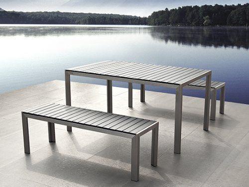 Astounding Beliani Nardo Aluminium Garden Polywood Table And 2 Benches Gamerscity Chair Design For Home Gamerscityorg