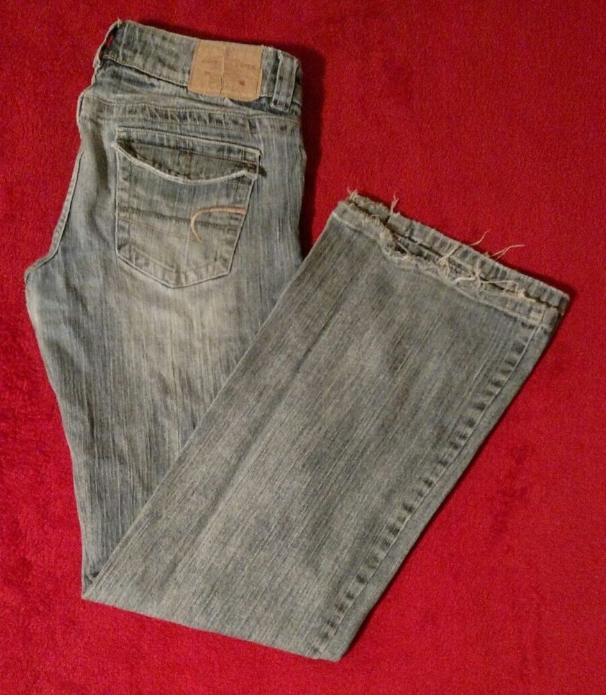 American Eagle Boyfriend Boot Cut Blue Jeans Size 8 Reg #AmericanEagleOutfitters #BootCut