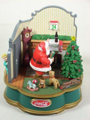 Coca Cola Christmas Music Box Vintage Animated Lights Santa Claus