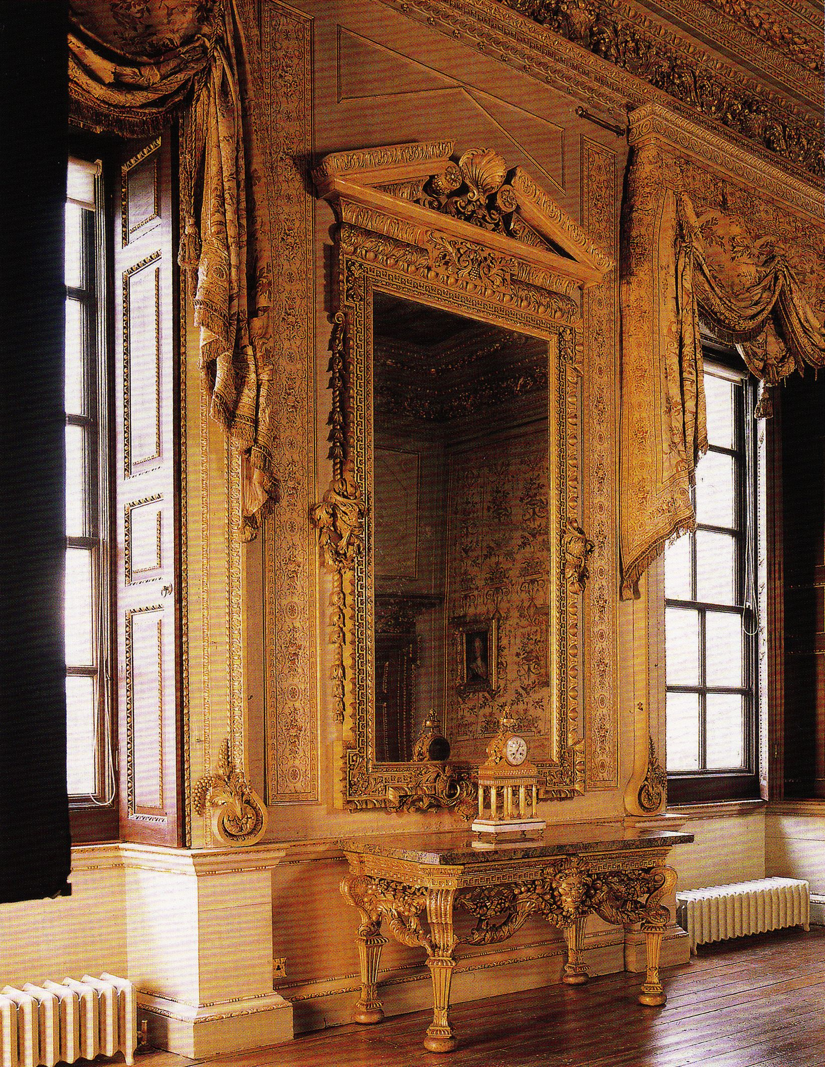 Inside House Drawing: Houghton Hall, White Drawing Room. Interiors By William