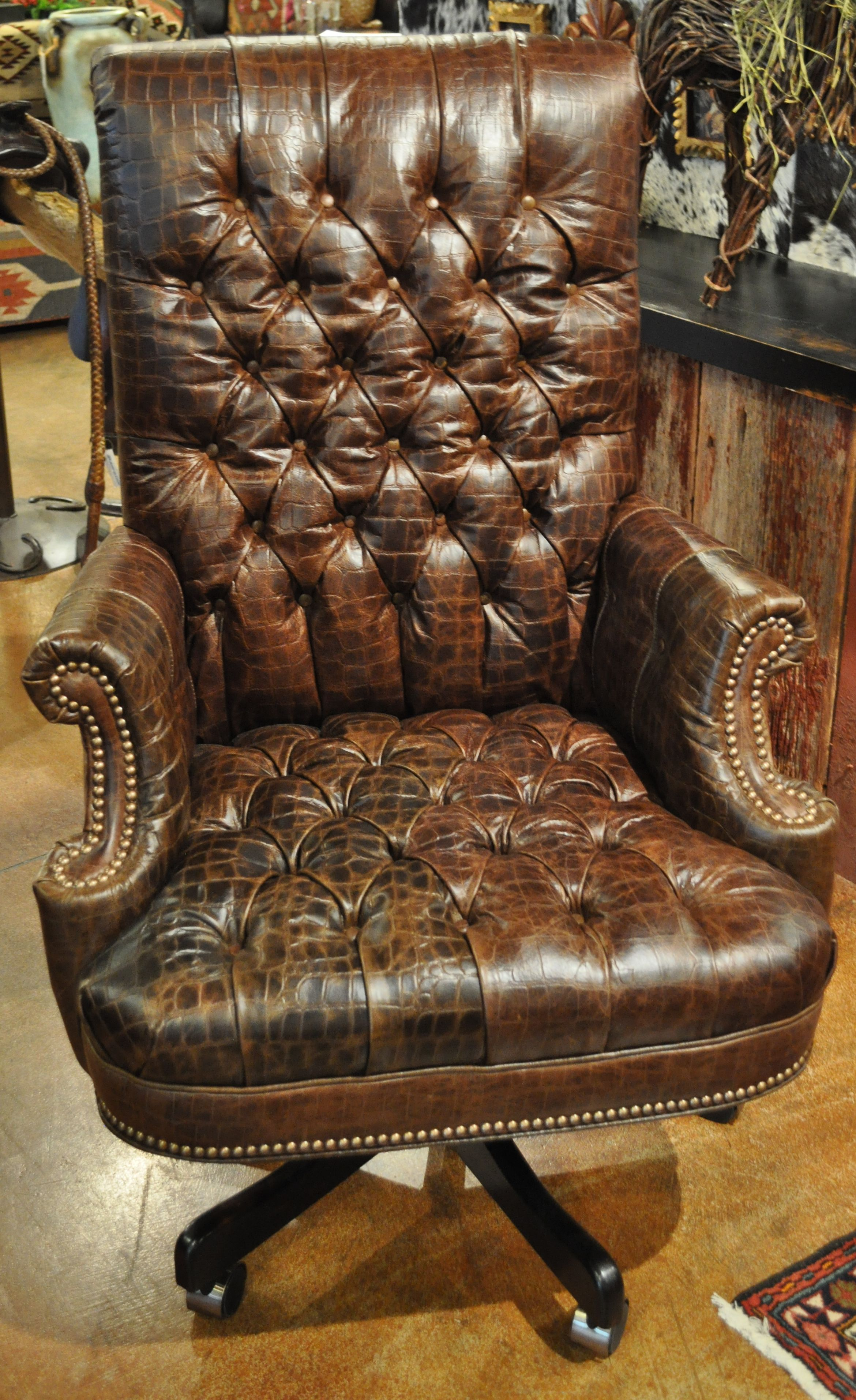 Tufted Leather Office Chair Pin By Rawhide Ranch Co On Furniture At Rawhide Brown Leather