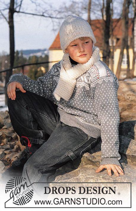 """DROPS Trui met traditioneel Noors motief, muts en sjaal van """"Karisma Superwash"""". ~ DROPS Design"""