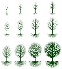 Growing Tree royalty free vector icon set vector art illustration
