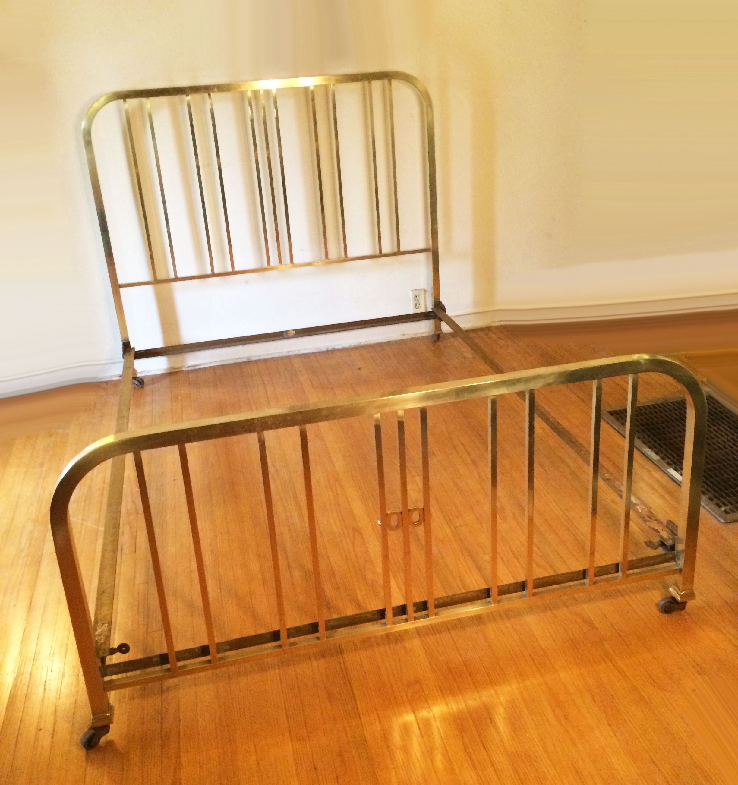 Gorgeous 1940S Vintage French Art Deco Brass Bed On Wheels