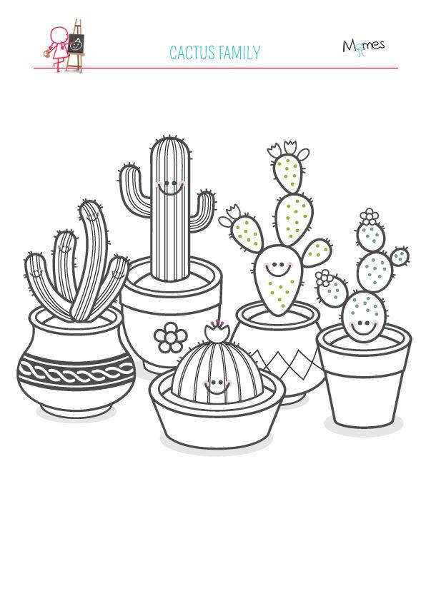 Coloriage De La Famille Cactus Dibujar Cactus Cactus Dibujo