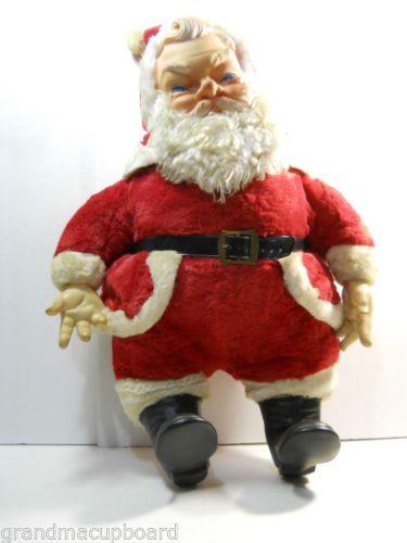 Vintage 1960 S My Toy Large Stuffed Santa Claus Plush Rubber 24