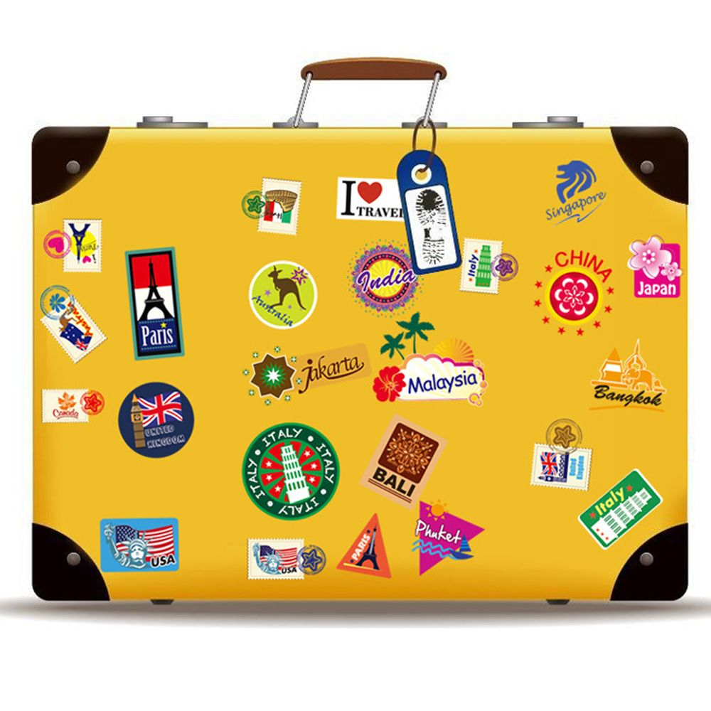 Travel Suitcase Notebook Buildings Wall Sticker Decal Home Paper Art ...