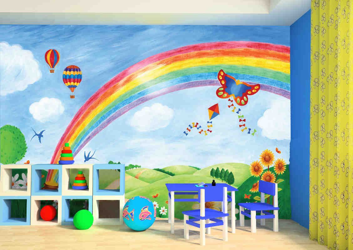 Rainbow 1 128 800 pixels walls pinterest for Rainbow kids room