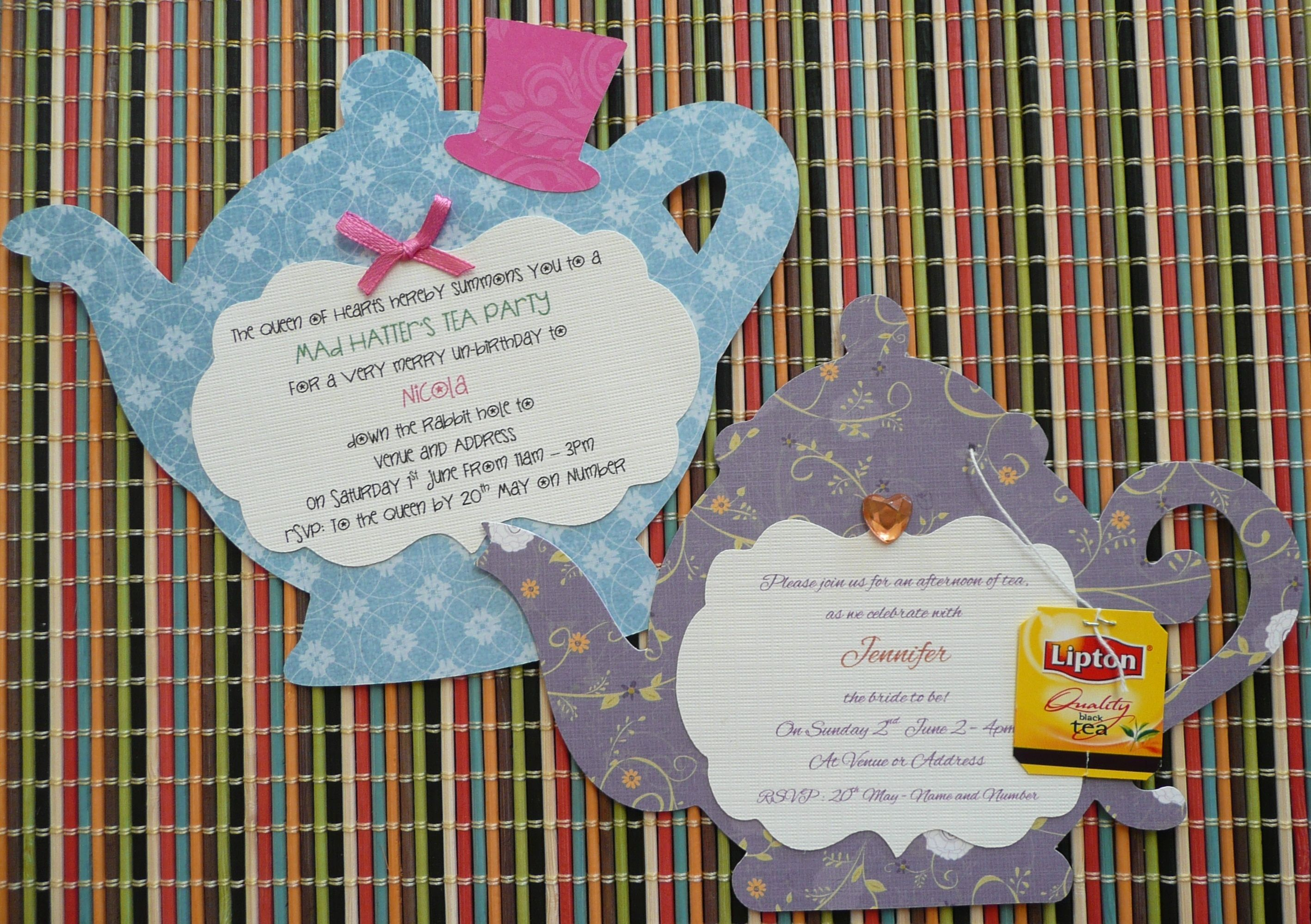 Teapot invitation - great for a birthday or kitchen tea. To order ...