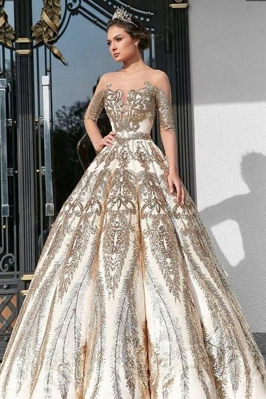 Ball Gown Long Sleeve Lace Appliques Prom Dresses Beads Long Wedding Dresses  #p... 2