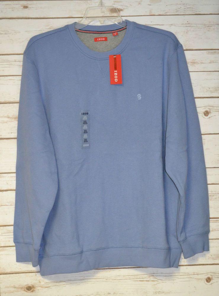Men S Izod Sueded Fleece Crewneck Sweatshirt Color Light Blue Size Xl Golf Nwt Long Sleeve Tshirt Men Crew Neck Sweatshirt Mens Fleece