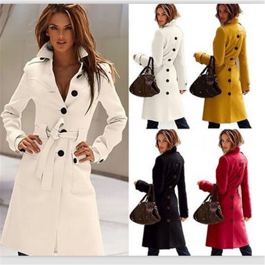 2013 London Fashion Designer European Trench Coat S-XL White/Red ...