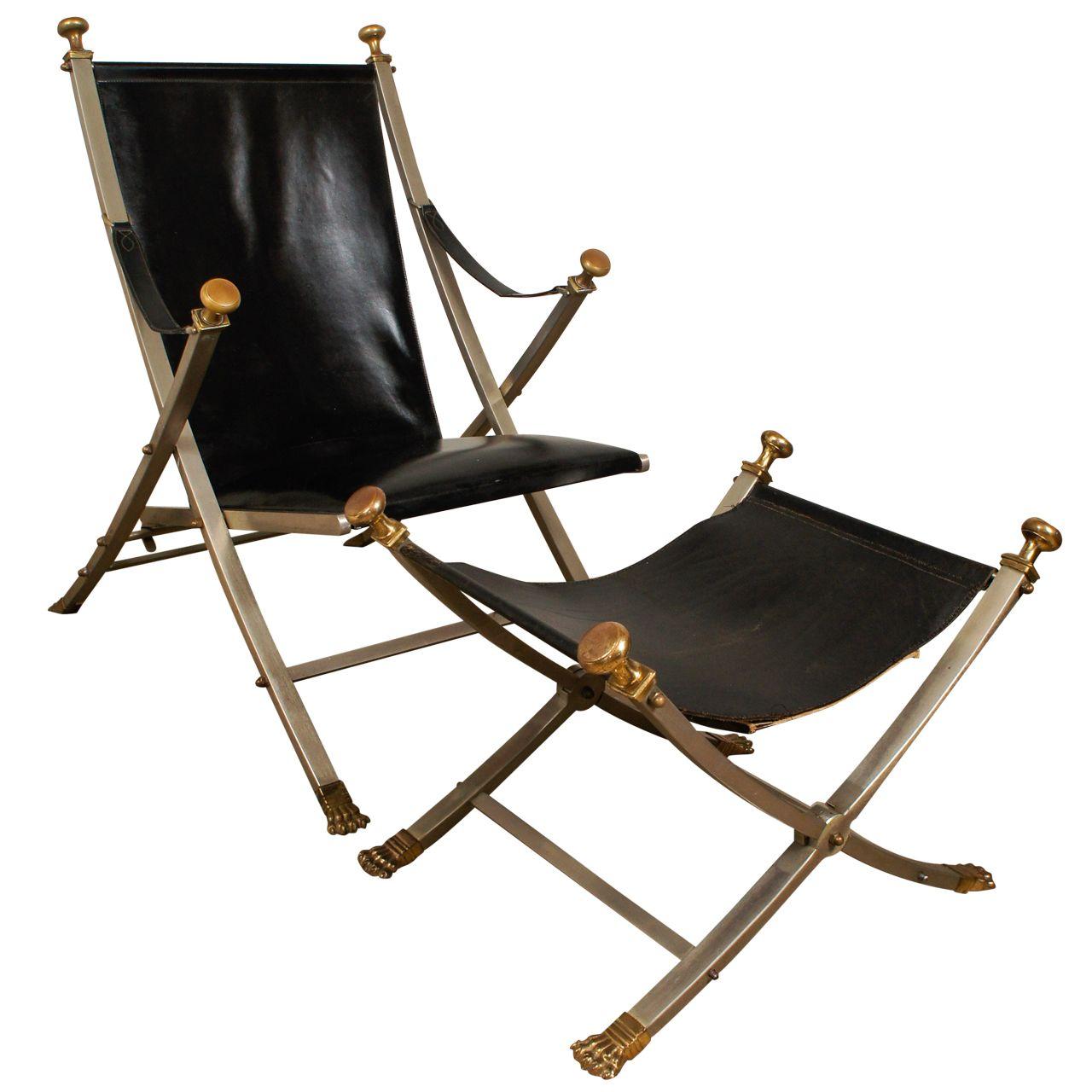 Maison Jansen Campaign Folding Chair And Ottoman Outside