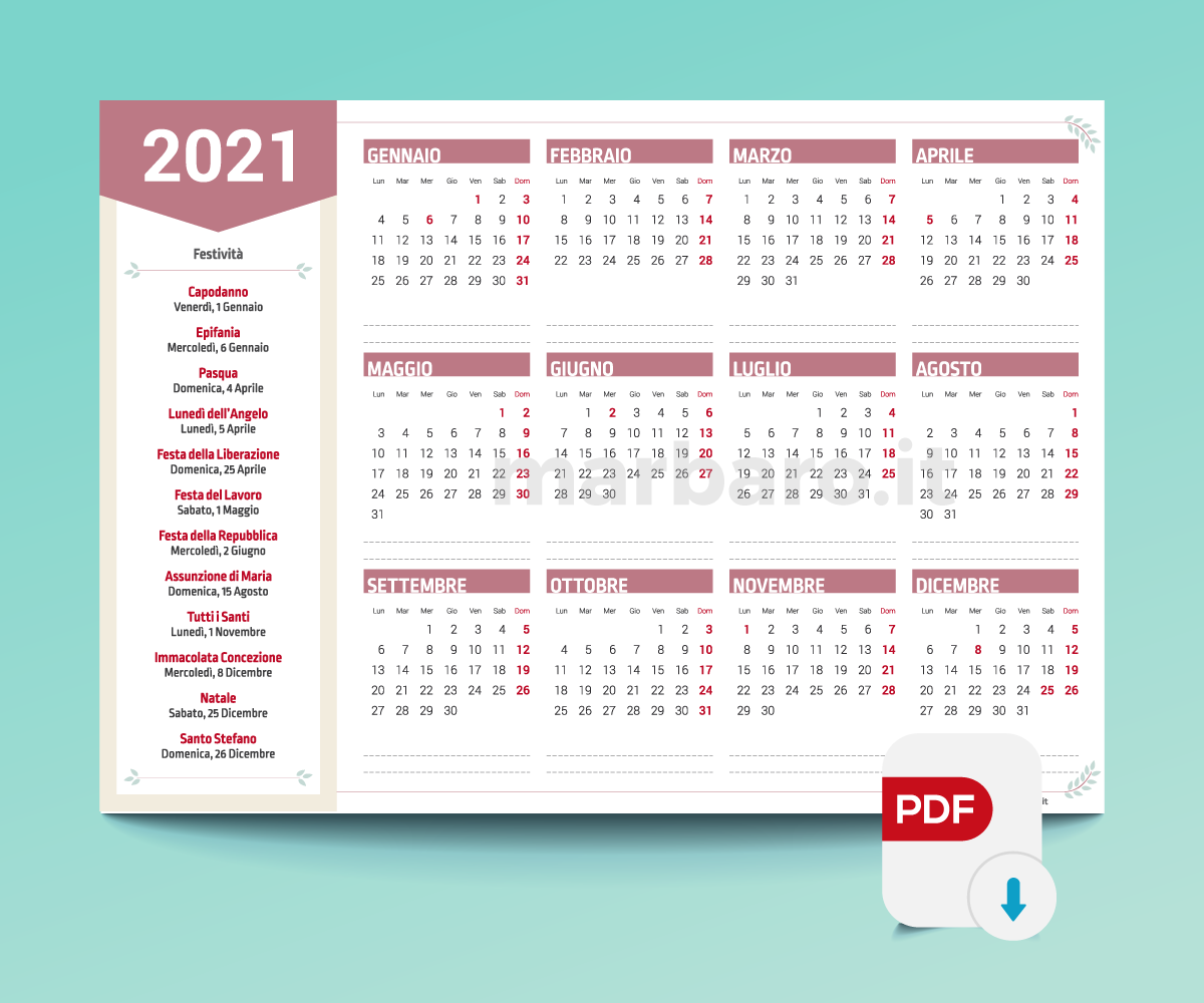 Calendario 2021 Stampabile A5 Calendari 2021 stampabili | Calendario stampabile gratis