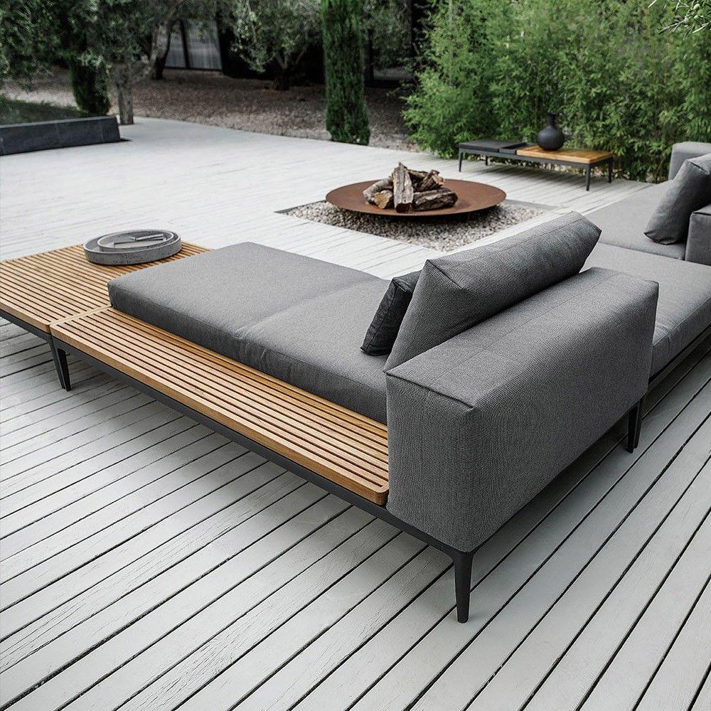 Gloster Grid Modular Chaise Lounge Sofa Meteor Granite