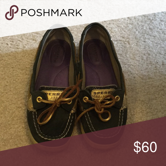 6d4072f17d13 Sperry Topsiders Black and Gold Shoes Flats   Loafers