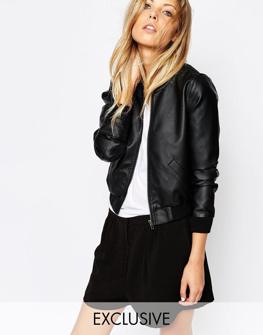 Noisy May Faux Leather Bomber Jacket Faux Leather Bomber Jacket Leather Jackets Women Black Leather Bomber Jacket [ 1110 x 870 Pixel ]