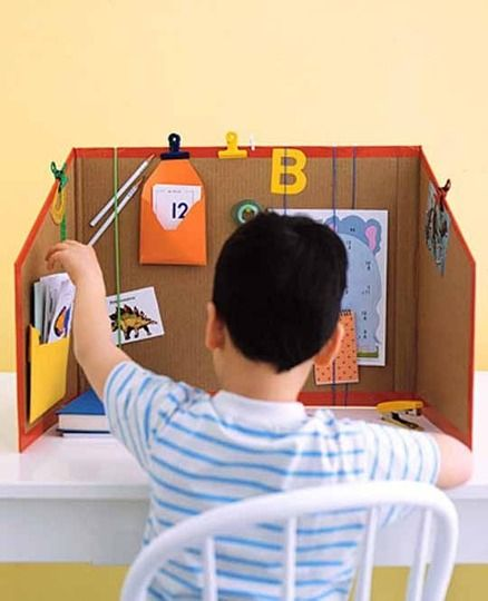 cardboard box coloring and craft center, would also make a great homework centre with sight words and number lines!