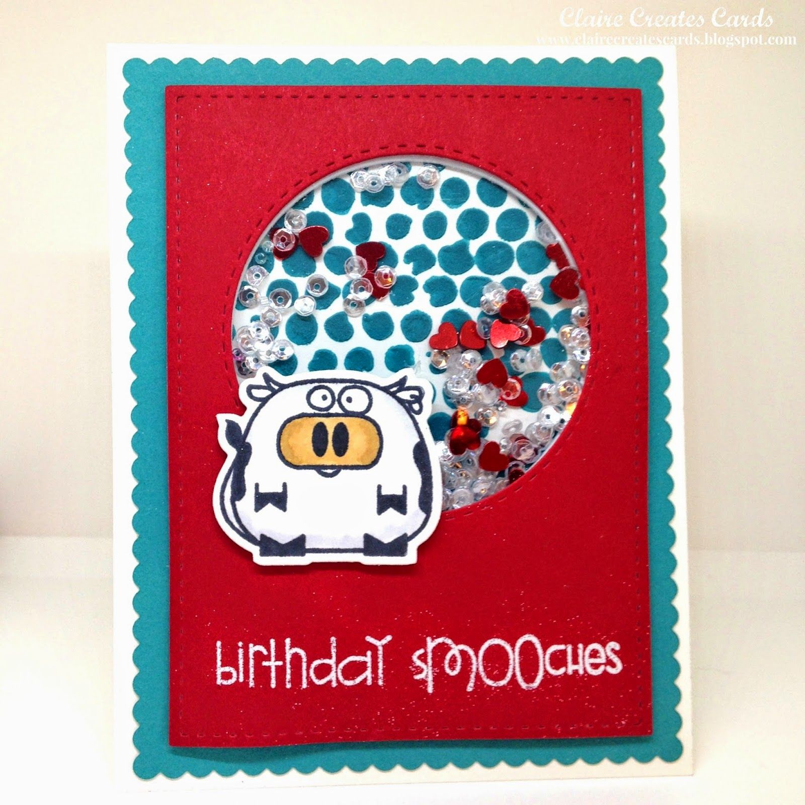 Claire Broadwater: Claire Creates Cards – Birthday sMOOches--FM 197 - 2/13/15  (Paper Smooches stamps/ dies: Chubby Chums. Tim Holtz: Bubble stencil)