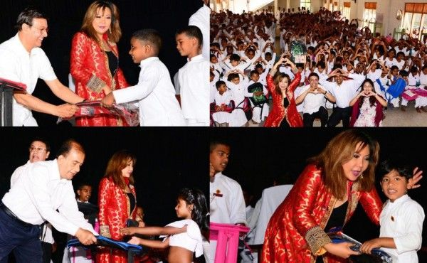 """Princess Maria Amor and Jeff Goonewardena giving a school bag to a disabled student in Sri Lanka""For the children of Sri Dharmashoka Daham School in Colombo, Sri Lanka, that Sunday morning of..."