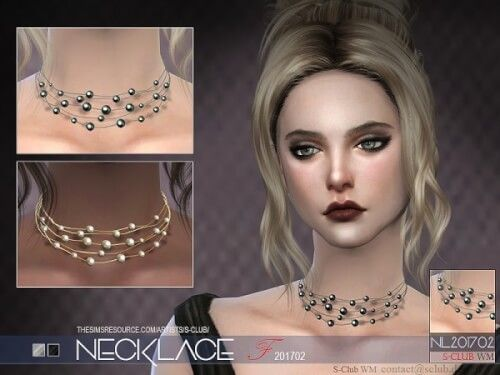 The Sims Resource - WM necklace F 201702 by S-Club for The Sims 4