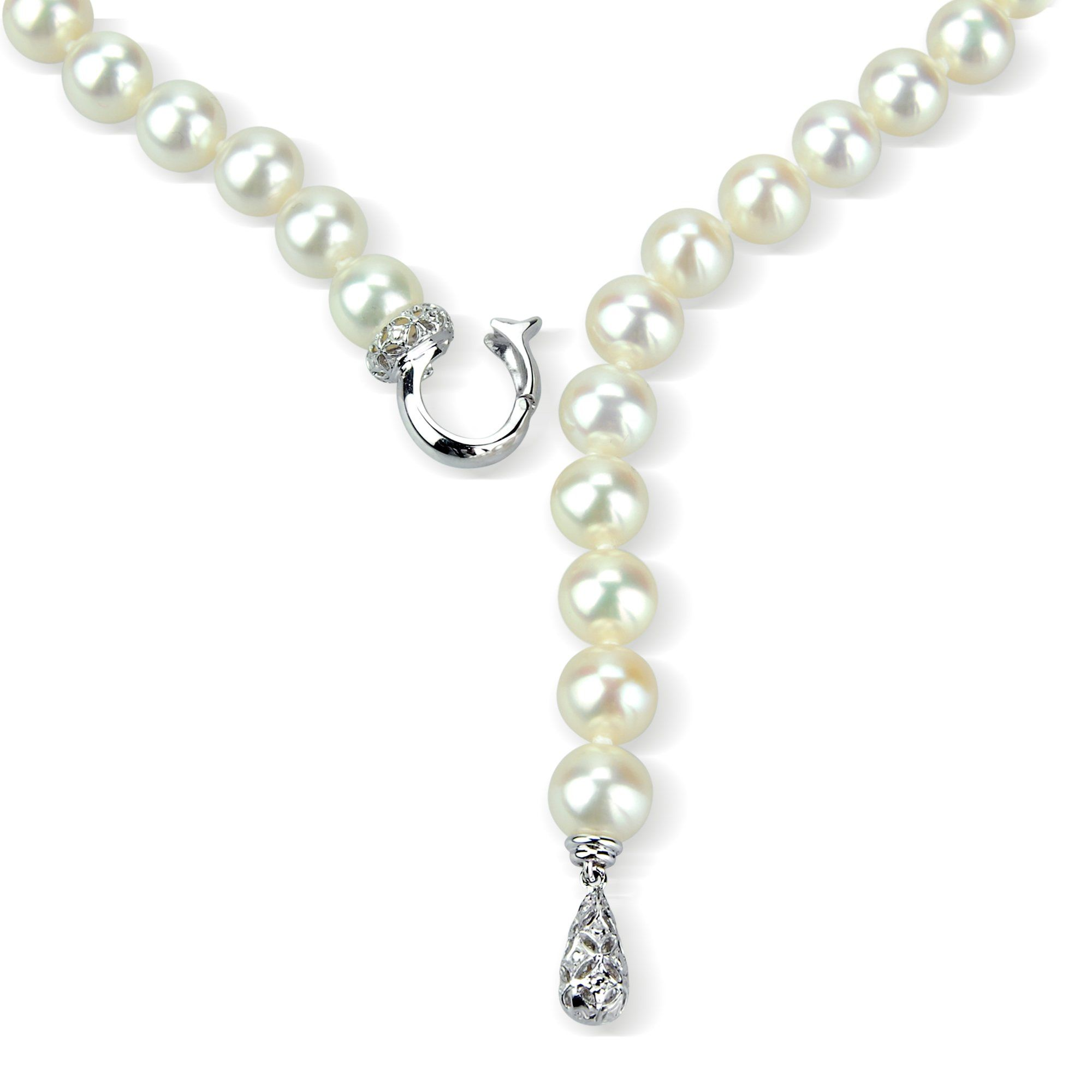 Sterling 20in Silver 7-7.5mm White Freshwater Cultured Pearl Necklace.
