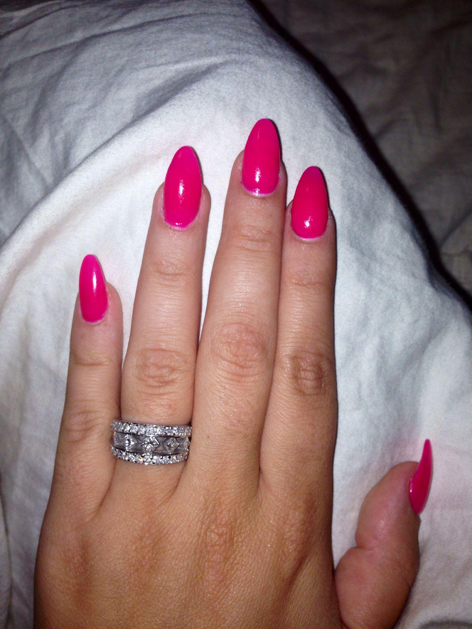 Hot pink stiletto nails | Nails | Pinterest | Double team, Almond ...