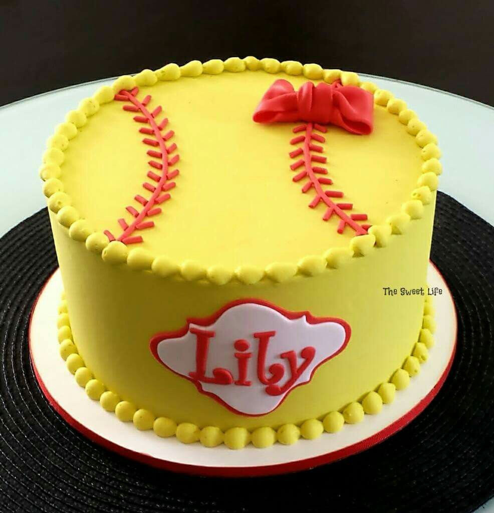 Fabulous Softball Birthday Cake With Images Softball Birthday Cakes Personalised Birthday Cards Paralily Jamesorg