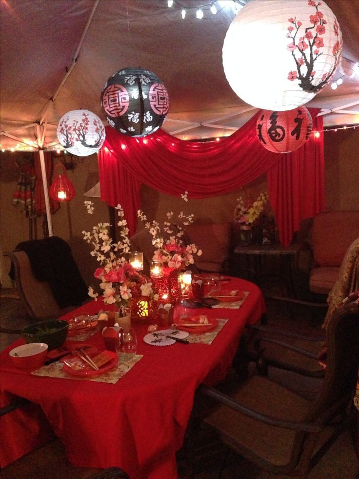 Elegant Chinese New Year Party Decoration Idea Using Red Colored Decorations And Paper Lanterns Chinese Party Decorations Chinese Party Chinese New Year Party