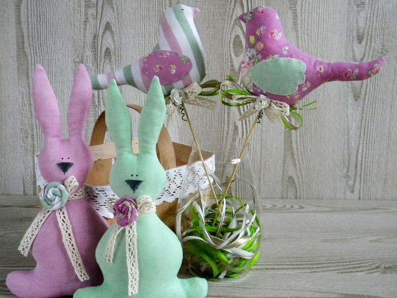 Ostern Dekor Osterhasen und Vögel von JuliettaDoll auf DaWanda.com