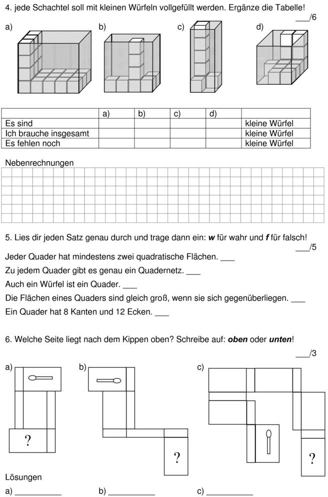 Klassenarbeit zu Würfelgebäude | Educational Activities | Pinterest ...