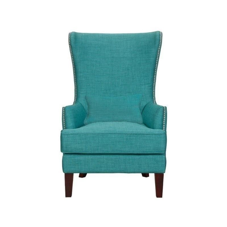 Elements Kori Chair Single Chair Wingback Green Fabric Arm Chairs in Teal  Elements Contemporary
