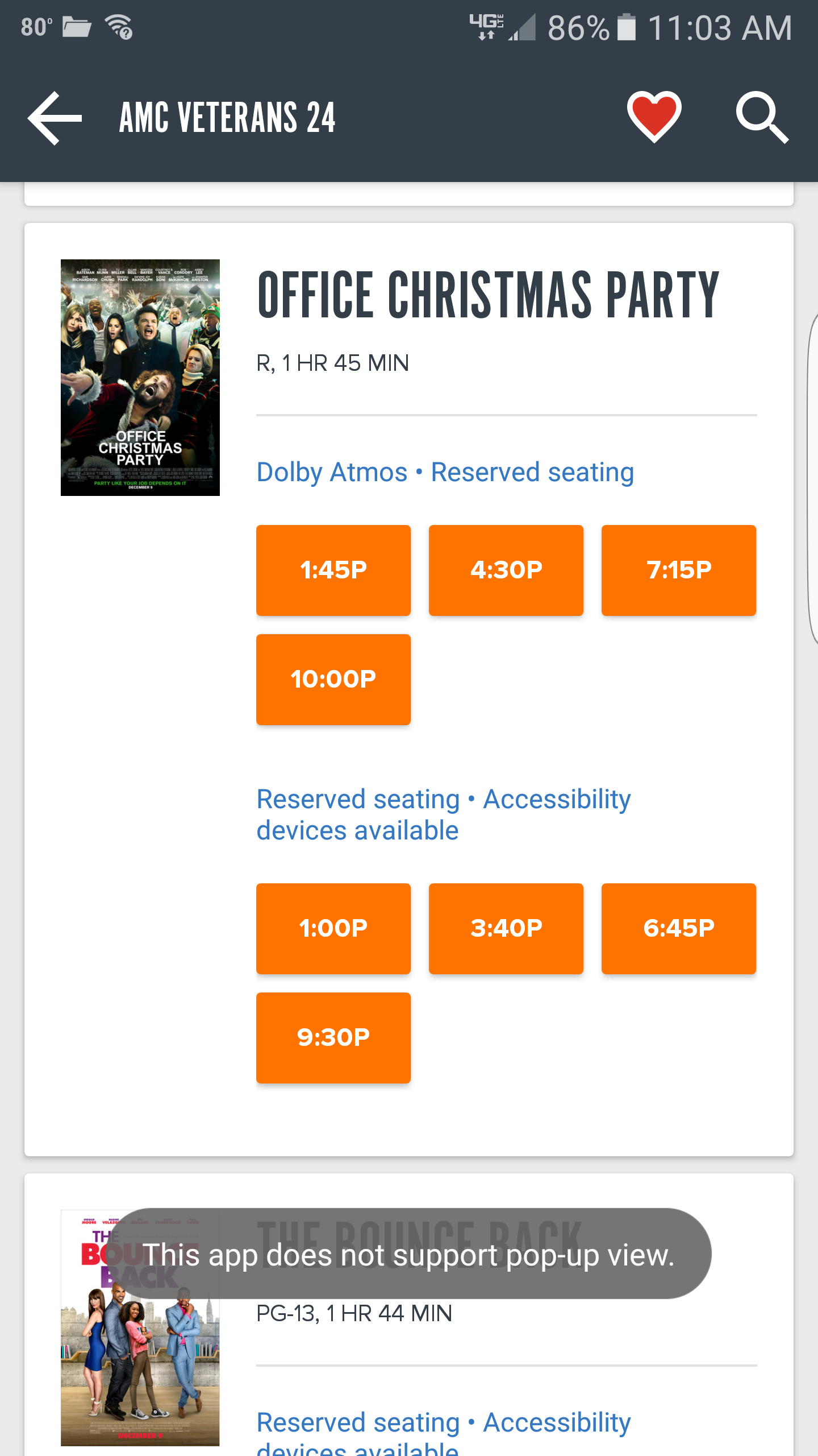 My local AMC theater put Office Christmas Party as the Dolby Cinema ...