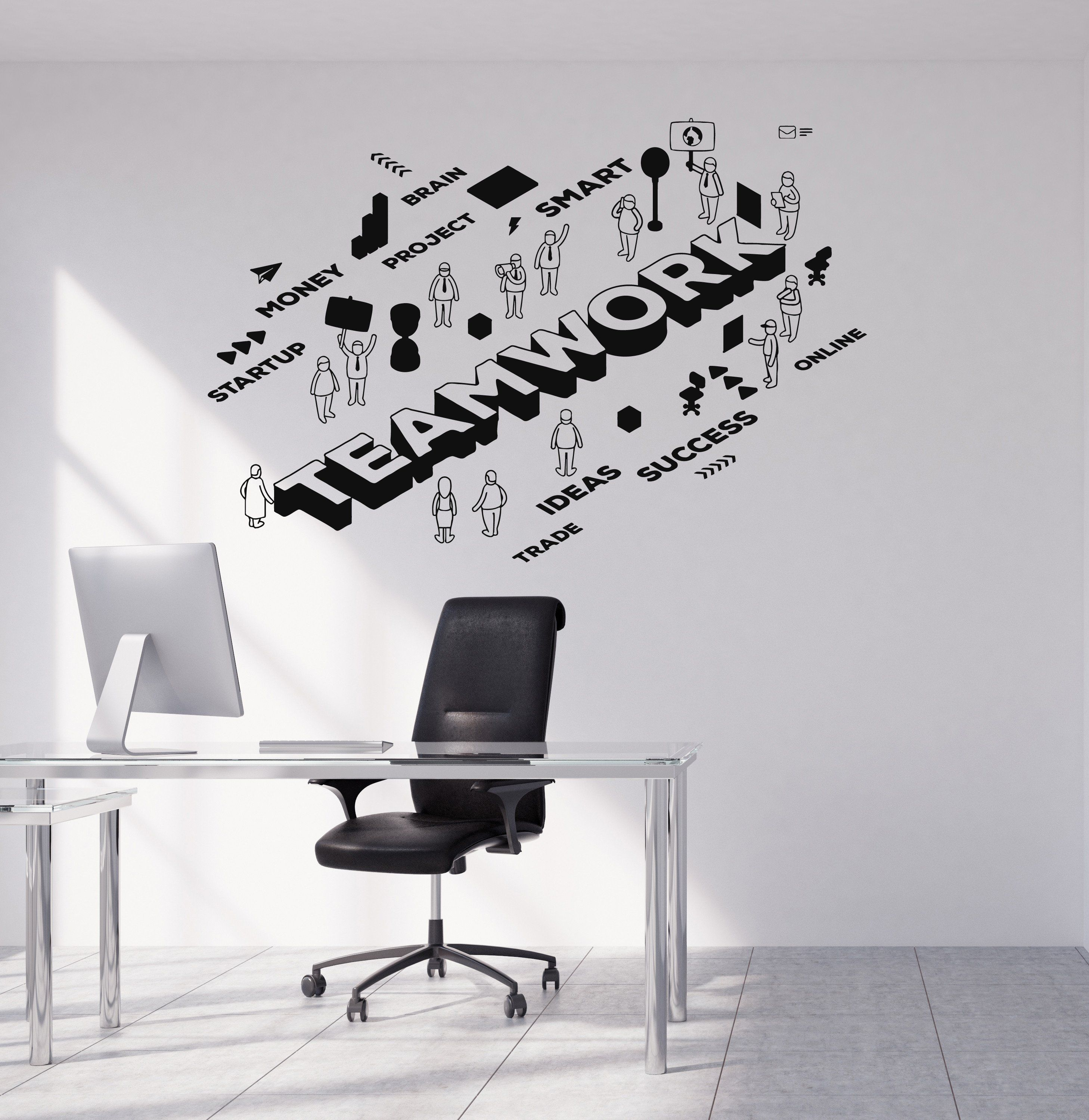 Teamwork Motivation Wall Stickers Office Decorations Office Worker Puzzle Decals